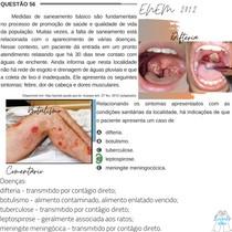 Questão 56 - ENEM 2012 - Medidas de saneamento básico