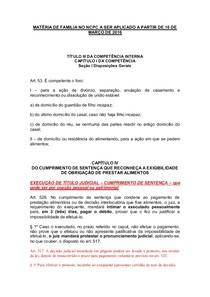 MATÉRIA DE FAMILIA NO NOVO CPC