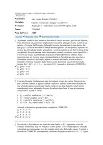 Avaliação 2 Calculo Diferencial e Integral I