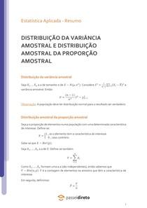 Distribuição da variância amostral e da proporção amostral - Resumo