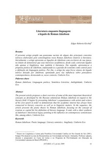 KIRCHOF. Literatura enquanto linguagem   o legado de Roman Jakobson