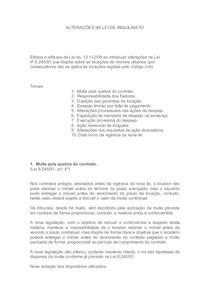 ALTERAÇÕES NA LEI DE INQUILINATO