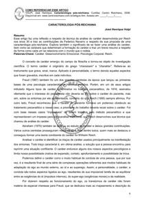 VOLPI, José Henrique. Caractereologia pos reichiana