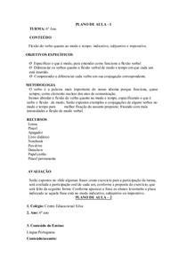 plano de aula verbos