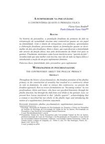 A feminilidade na psicanálise  a controvérsia quanto à primazia fálica