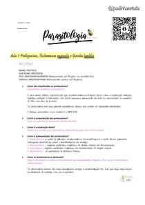 RESUMO P1/AULA 1 PARASITOLOGIA: PROTOZOÁRIOS, TRICHOMONAS (DR. RUBENS)