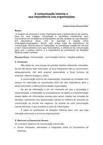 A Comunicação Interna e sua importância nas organizações