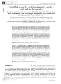 Variabilidade sazonal dos constituintes da própolis vermelha e bioatividade em Artermia salina