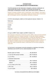EXERCÍCIOS CONTABILIDADE INTERMEDIÁRIA