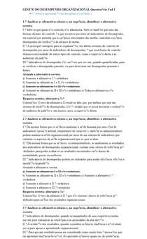 GESTÃO DO DESEMPENHO ORGANIZACIONAL Questionário Und I
