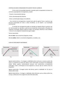 CONTROLE DE MICRO-ORGANISMOS POR MÉTODOS QUÍMICOS E FÍSICOS