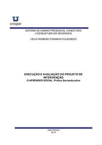 execução e avaliação  do projeto de intervenção