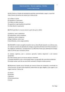 Lista de exercícios - Recursos orgânicos - petróleo - Questões de vestibulares (com gabarito)