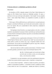 Artigo - O sistema eleitoral e a infidelidade partidária no Brasil