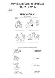 ATIVIDADE REMOTA DE EDUCAÇÃO FÍSICA TURMA 20