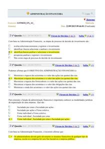 EXERCICIOS E SIMULADOS - ADMINISTRAÇÃO FINANCEIRA
