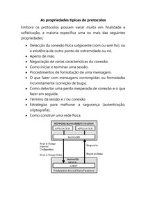 As propriedades típicas de protocolos