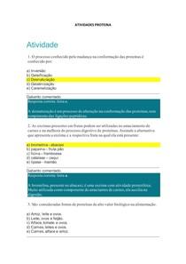 ATIVIDADES PROTEINA- AULA 04