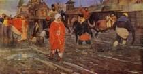 Andrey Ryabushkin  - A XVII-century Moscow Street on a Holiday