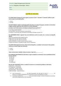 Questões - Ortografia a Acentuação Parte II
