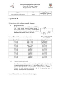 Elementos resistivos lineares e não lineares