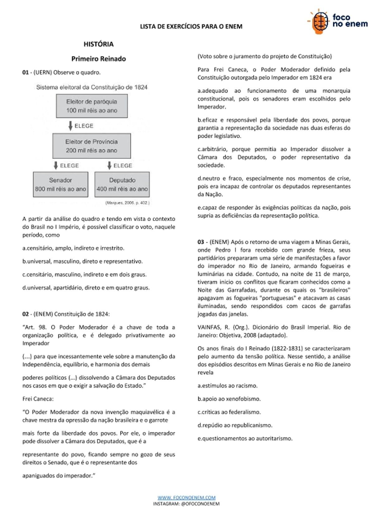 Pre-visualização do material Primeiro-Reinado-Lista-de-Exercicios-Historia-ENEM (1) - página 1