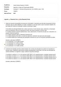 AVALIAÇÃO II ALGORITMO E LÓGICA DE PROGRAMAÇÃO