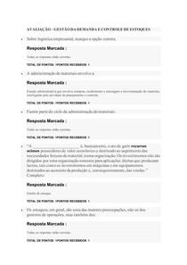 AVALIAÇÃO GESTÃO DE DEMANDA E CONTROLE DE ESTOQUES