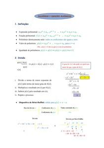 Polinômios e Equações Algébricas (Resumo)