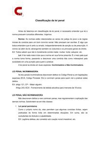 Classificação da lei penal