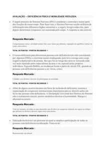 AVALIAÇÃO DEFICIÊNCIA FÍSICA E MOBILIDADE REDUZIDA - FAVENI