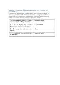 apol 1 contabilidade Atuarial e metodos quantitativos