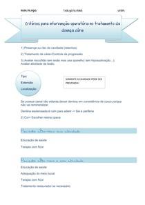 Critérios para intervenção operatória em cariologia