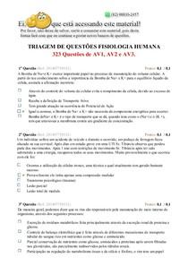 FISIOLOGIA HUMANA  AV1, AV2 E AV3 TODAS AS QUESTÕES