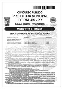 Concurso Público - fafipa 2014 prefeitura de pinhais pr motorista prova