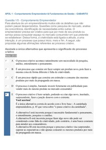 APOL 1 - Comportamento Empreendedor & Fundamentos de Gestão - GABARITO
