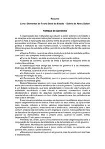 Elementos de Teoria Geral do Estado Dalmo de Abreu Dallari - FORMAS DE GOVERNO
