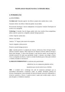 NEOPLASIAS MALIGNAS DA CAVIDADE ORAL