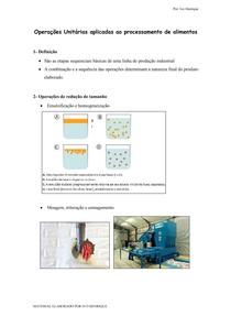 Operações Unitárias aplicadas ao processamento de alimentos