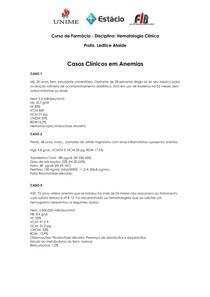 Casos Clínicos Da Profª. Ledilce Almeida Ataíde [Fisiopatologia E Farmacoterapia I] - 2011.1 - (01º) - ANEMIAS