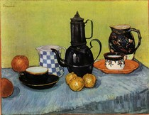 Vincent Willem van Gogh-ainda-vida-Blue-Esmalte-Coffeepot-barro-e-Fruit