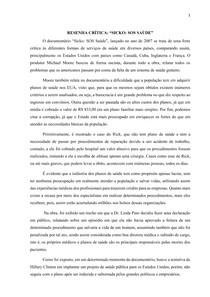 RESENHA CRÍTICA DO DOCUMENTÁRIO SICKO