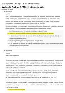 Avaliação On-Line 3 (AOL 3) - Empreendedorismo