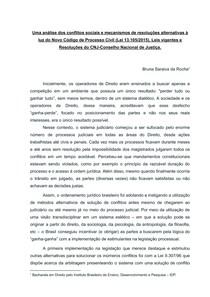 Análise dos conflitos sociais e mecanismos de resoluções alternativas à luz do Novo Código de Processo Civil