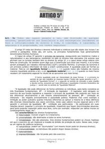 Análise e síntese dos 78 incisos do artigo 5º da Constituição Federal do Brasil e de suas principais idéias, feita por Kamila Venuto de Souza e Gabriel Freitas Angst
