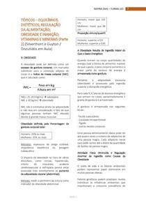 REGULAÇÃO DA ALIMENTAÇÃO, OBESIDADE E INANIÇÃO, VIT E MINERAIS (Parte 2)