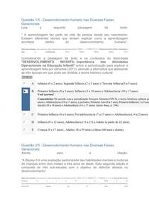 Apol 1 Desenvolvimento Humano nas Diversas Faixas Geracionais