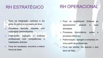 RH ESTRATÉGICO X RH OPERACIONAL