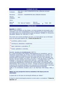 Prova AV2 - Fund. Ciências Sociais