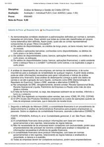 Avaliação I  Análise de Balanço e Gestão de Crédito UNIASSELVI